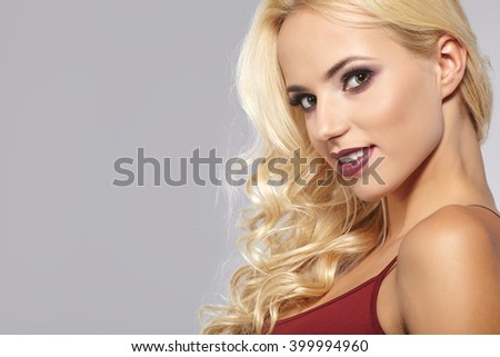 Portrait of beautiful blond woman #399994960