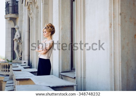 Stock Photo Portrait of Beautiful Blond Woman with Long Hair and Clean Skin. Brigitte Bardot look