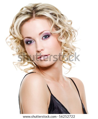 Portrait of beautiful blond young woman - isolated on white