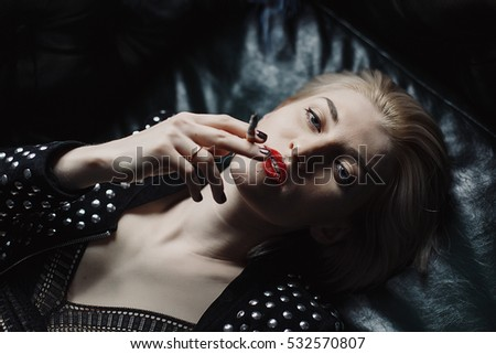 db1ec71b378 Smoking women with red lipstick lips Images and Stock Photos - Page ...