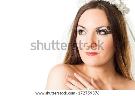 Portrait of beautiful bride woman with creative makeup and body art butterfly  on white background. Makeup, fashion, beauty.