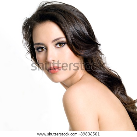 Portrait of beautiful  brunette young sexy woman on white background