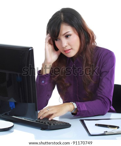 Portrait of beautiful business woman contemplating at office isolated over white