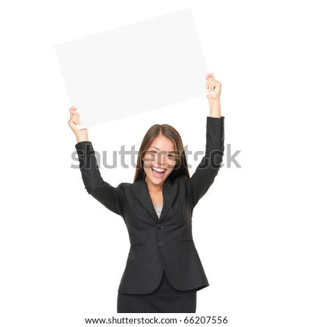 Portrait of beautiful businesswoman holding blank billboard over her head. Isolated on white background