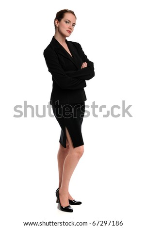 Portrait of beautiful businesswoman standing with arms crossed isolated over white background