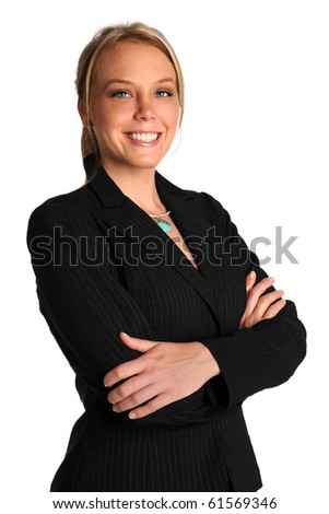 Portrait of beautiful businesswoman with arms crossed isolated over white background