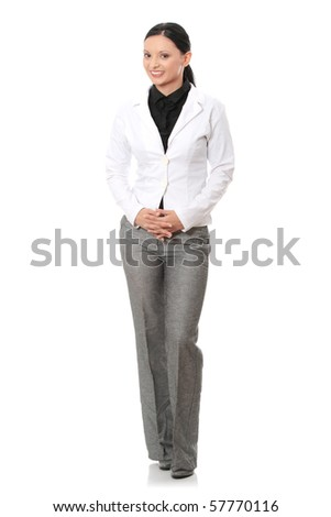 Portrait of beautiful caucasian business woman in suit, isolated on white background