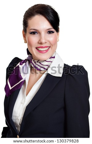 portrait of beautiful dark haired young business woman dressed in a dark blue suit with a purple scarf smiling, isolated on white background