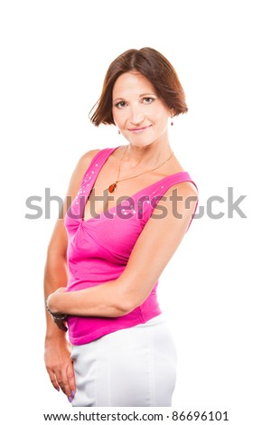 Portrait of beautiful elegant woman wearing pink on isolated white background