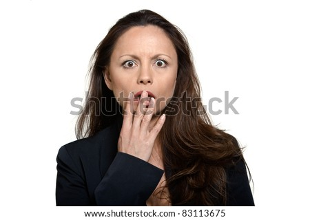 Portrait of beautiful expressive shocked Asian woman in studio isolated on white background