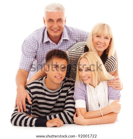 portrait of beautiful family unity isolated on white