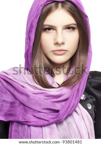 Portrait of beautiful fashion young girl teenager in lilac scarf healthy clean skin glossy brown hairs closeup in studio on white background