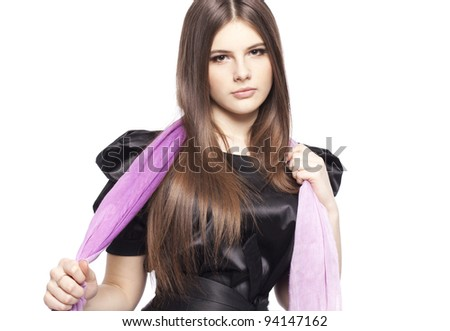 fashion young girl teenager with lilac scarf healthy clean skin glossy ...
