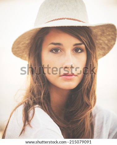 Portrait of Beautiful Fashionable Hipster Woman