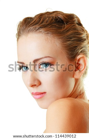 Portrait of beautiful female model face close up on white background