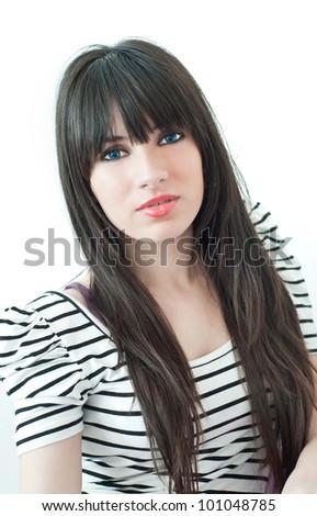 Portrait of beautiful female model on white background #101048785