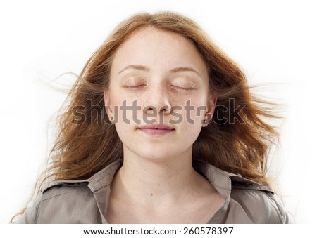Portrait of beautiful girl face with eyes closed #260578397
