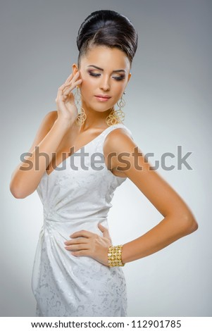 portrait of  beautiful girl in wedding dress