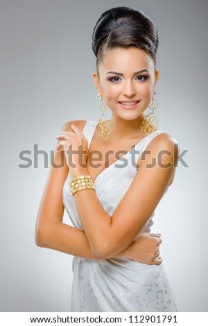 portrait of  beautiful girl in wedding dress - stock photo