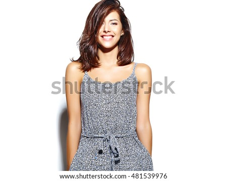 Portrait of beautiful girl model in casual summer clothes  with no makeup on white background