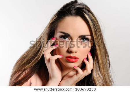 Portrait of beautiful girl  on grey background