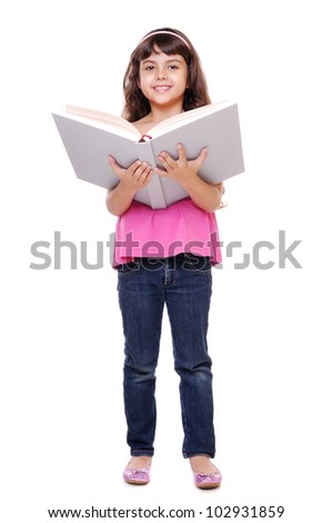 Portrait of beautiful girl  reading a big book over white background