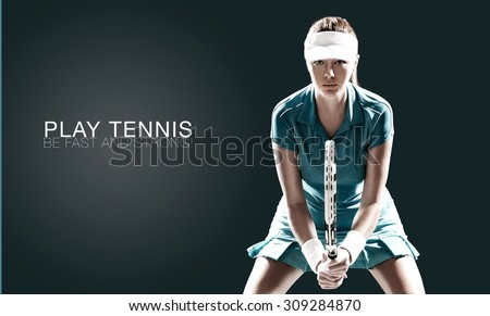 Portrait of beautiful girl tennis player with a racket isolated on dark background