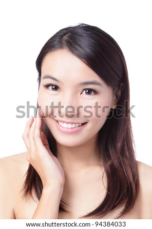 Portrait of beautiful girl touching her pretty face with healthy skin - white background, model is a asian beauty