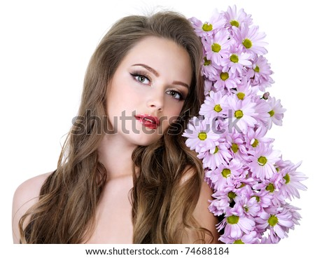 Portrait of beautiful girl with beautiful long hair and spring flowers - white background