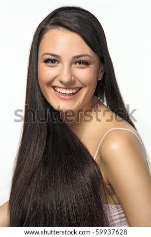 Portrait of beautiful girl with dark long hair