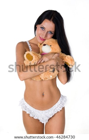 portrait of beautiful girl with toy isolated on white
