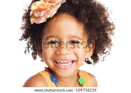 Portrait of beautiful happy little girl