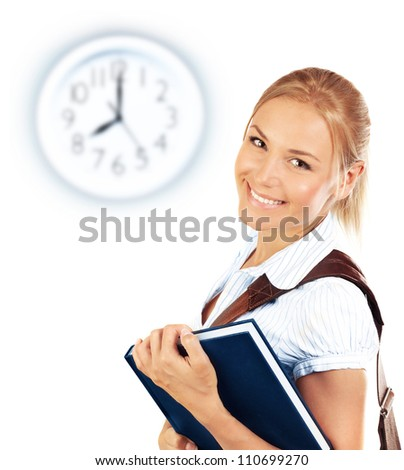 Portrait of beautiful happy student female, attractive clever smiling school girl with textbook isolated on white background, pretty smart cheerful teenager and clock on wall, education concept