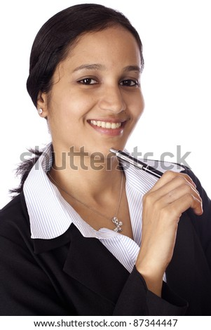 Portrait of beautiful Indian businesswoman at work