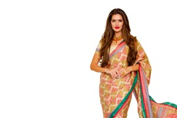 Portrait of beautiful indian girl. beauty portrait. Young hindu woman model with kundan jewelry set. Close up. Traditional India costume  lehenga choli or sari. make-up