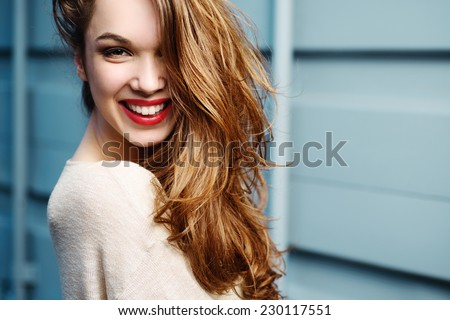 Portrait of beautiful laughing girl lifestyle