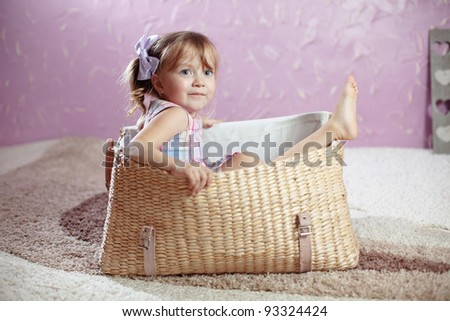 Portrait of beautiful little girl - stock photo