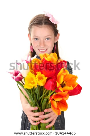 Portrait of beautiful little girl with tulips isolated on white