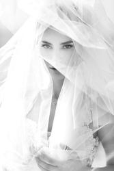 Portrait of beautiful luxury bride b&w