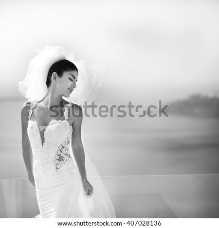 Portrait of beautiful luxury bride in veil b&w #407028136