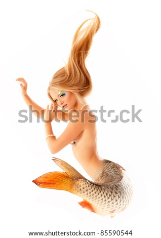 portrait of beautiful mermaid girl with fish tail and long blond hair magic mythology being original photo compilation isolated on white background