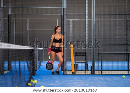 Portrait of beautiful play padle girl ready to entrance in the padle or tennis court Stock fotó ©