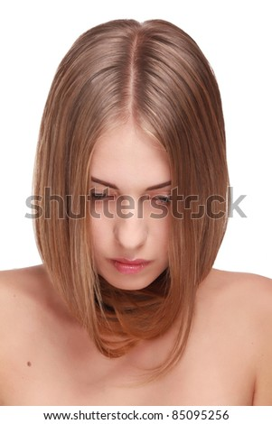 Portrait of beautiful pretty girl with smooth gloss hair