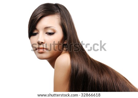 portrait of beautiful pretty young girl with long smooth luxuriant hairs