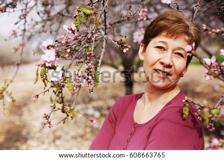 Portrait of beautiful real 45 years old woman