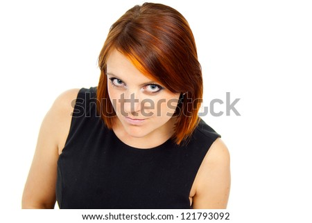 portrait of beautiful red-haired girl - stock photo
