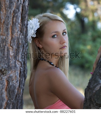 Portrait of beautiful romantic woman - stock photo