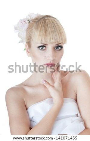 Portrait of beautiful sensual woman over   white background.