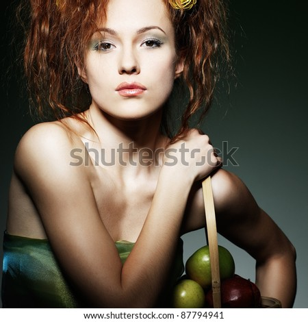 Portrait of beautiful sexual redheaded girl