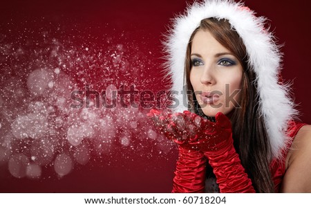 Stock Photo Portrait of beautiful sexy girl wearing santa claus clothes